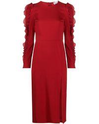RED Valentino - ラッフルスリーブ ドレス - Lyst