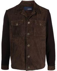 Lardini Куртка-рубашка С Трикотажными Рукавами - Коричневый