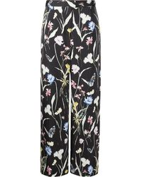 Jason Wu Floral-print Silk Trousers - Black