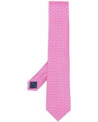 Ferragamo Cravate en soie à imprimé graphique - Rose