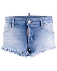DSquared² Short en jean à bords frangés - Bleu