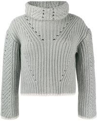 Fendi Roll Neck Knitted Sweater - Gray