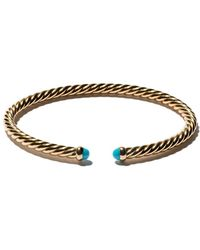David Yurman 18kt Yellow Gold Cable Spira Turquoise Cuff Bracelet - Metallic