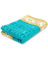 Versace Baroque Trim Beach Towel - Blue