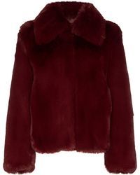 Sies Marjan Felice Burgundy Faux Fur Jacket - Red
