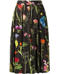 Boutique Moschino Pleated Photographic-floral Skirt - Black