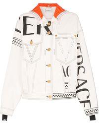 Versace Veste en jean à logo et capuche - Blanc