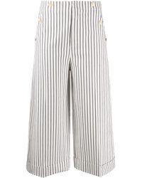 Dondup Cropped-Hose mit Streifen - Weiß