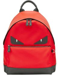 792bf68c9f3 Fendi Monster Eyes One-shoulder Backpack In Leather And Nylon With ...