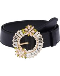 Miu Miu Crystal-embellished Buckle Belt - Black