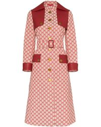 Gucci GG Print Trench Coat - Red