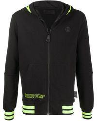 Philipp Plein Logo Embossed Zipped Hoodie - Black