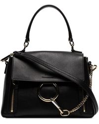Chloé Black Faye Day Medium Leather Shoulder Bag - Zwart