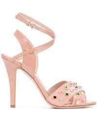 RED Valentino - Red(v) Jewel Embellished Sandals - Lyst