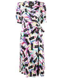 Marc Jacobs Ribbon Logo Print Wrap Dress - White
