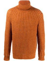 Roberto Collina Mixed Knit High-neck Jumper - Orange