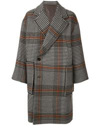 Wooyoungmi Oversized Houndstooth Coat - Gray