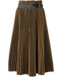 Sacai Jupe plissée à design tissé - Vert
