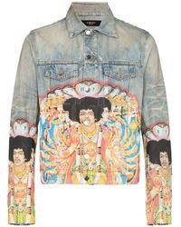 Amiri - Jeansjacke mit Jimi-Hendrix-Print - Lyst