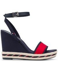 Tommy Hilfiger Striped Sole Wedge Sandals - Blue