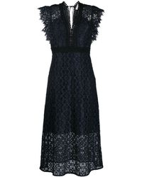 Sandro Lace Cap-sleeve Midi Dress - Black