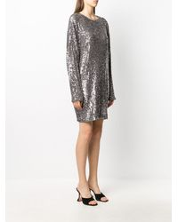 In the mood for love Long-sleeve Sequin Dress - Metallic