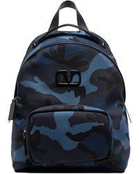 Valentino Sac à dos à imprimé camouflage - Bleu