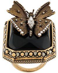 Alexander McQueen Kristallverzierter Schmetterlingsring - Mettallic