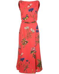 Oscar de la Renta Vestido con motivo floral - Rojo