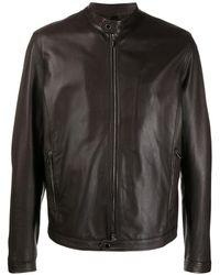 Tagliatore Stanley Band-collar Biker Jacket - Brown