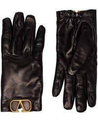 Valentino Garavani Lambskin Vlogo Appliqué Gloves - Black