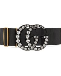 Gucci Elastic Belt With Crystal Double G Buckle - Zwart