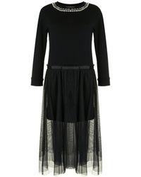Twin Set Faux Pearl-embellished Layered Dress - Black