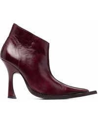 CHARLOTTE KNOWLES Serpent Pointed-toe Boots - Red