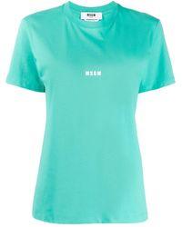 MSGM - Logo-print Crew-neck T-shirt - Lyst