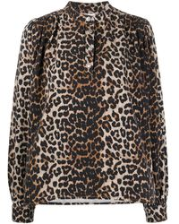Ganni - Блузка С Леопардовым Принтом - Lyst