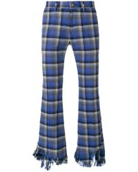 Facetasm - Checked Raw-edge Fringe Trousers In Blue - Lyst