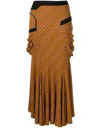 Kiko Kostadinov Striped Flared Midi Skirt - Brown