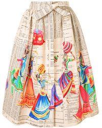 Stella Jean Hand-painted Midi Skirt - White