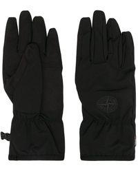 Stone Island Handschuhe mit Logo-Patch - Schwarz