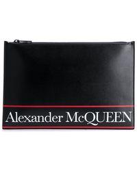 Alexander McQueen Clutch Met Logostreep - Zwart