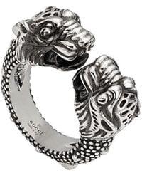 Gucci Tiger Head Ring - Металлик