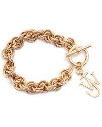JW Anderson Logo-charm Chain-link Bracelet - Metallic