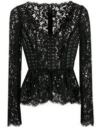 Dolce & Gabbana Floral Lace Corset Style Blouse - Black