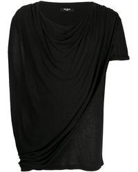 Balmain ドレープ Tシャツ - ブラック