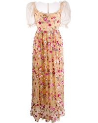 Parlor Floral-embroidered Tulle Gown - Multicolor