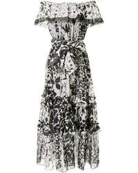Marchesa Платье Макси С Открытыми Плечами И Принтом - Черный