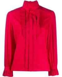 Saint Laurent Рубашка С Оборками На Воротнике - Красный
