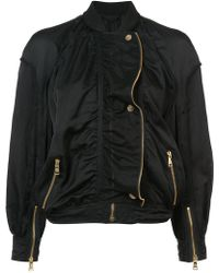 Roberto Cavalli - Gold-tone Zip Detailed Bomber Jacket - Lyst