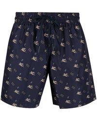 Etro Pegasus Monogram-print Swim Shorts - Blue